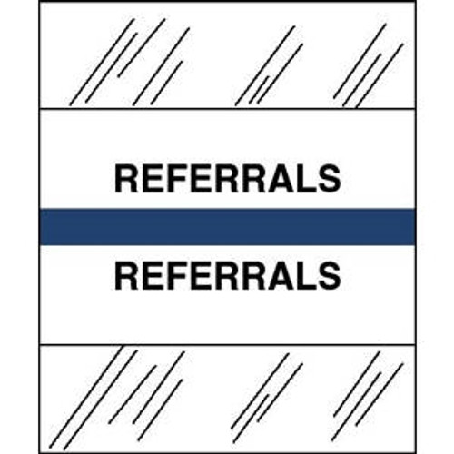 "Tabbies Patient Chart Index Tabs/Labels   - ""Referrals"" -  Blue - 1/2"" H x 1-1/4"" W - 100/Pack"