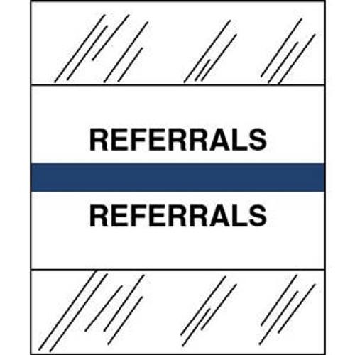 "Tabbies Patient Chart Index Tabs/Labels   - ""Referrals"" -  Blue - 1/2"" H x 1-1/4"" W - 100/Pack"