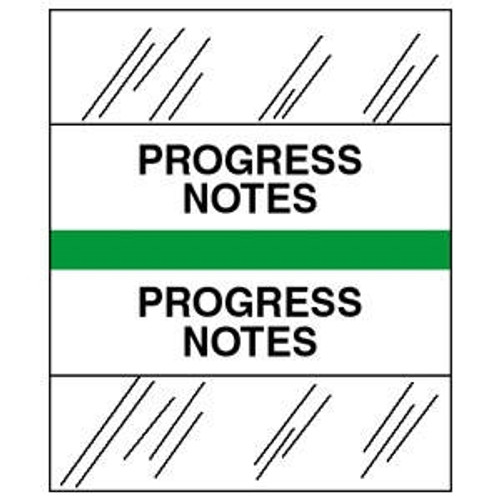 "Patient Chart Index Tabs/Labels -  ""Progress Notes""  -  Lt. Green - 1/2"" H x 1-1/4""W - 100/Pack"