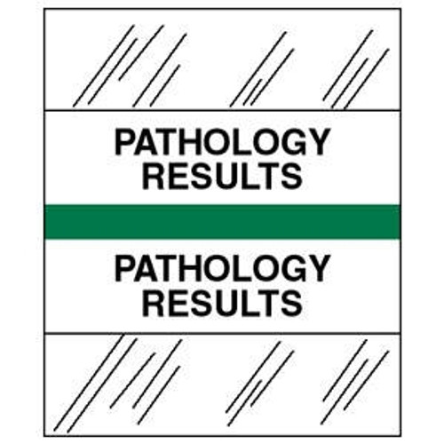 "Patient Chart Index Tabs/Labels - ""Pathology Results"" - Green - 1-1/4'' Tabs - 100/Pack"