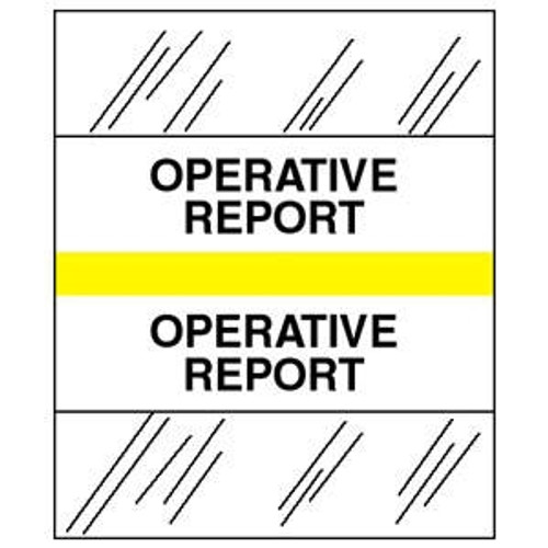 "Tabbies 54535 - Patient Chart Index Tabs/Labels - Yellow - ""Operative Report"" - 100/Pack"