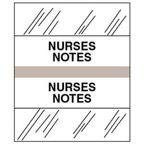 "Patient Chart Index Tabs/Labels -""Nurses Notes"" - Gray - 1-1/4"" Tabs - 100/Pack"