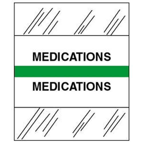 "Patient Chart Index Tabs/Labels -  ""Medications"" - Light Green -  1/2"" H x 1-1/4"" W - 100/Pack"
