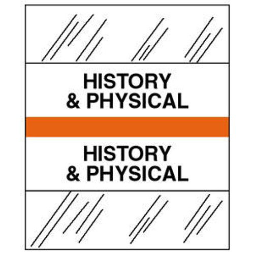 "Tabbies 54528 - Patient Chart Index Tabs/Labels - ""History & Physical"" - Orange - 1/2"" H x 1-1/4""  W- 100/Pack"