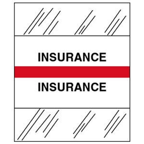 """Patient Chart Index Tabs/Labels -  """"Insurance"""" - Red - 100/Pack"""