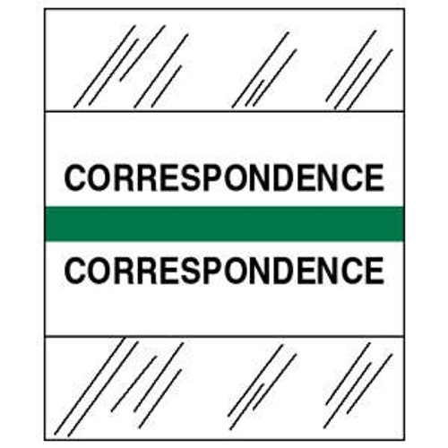 "Patient Chart Index Tabs/Labels - ""Correspondence"" - Green - 1-1/4"" - 100/Pack"