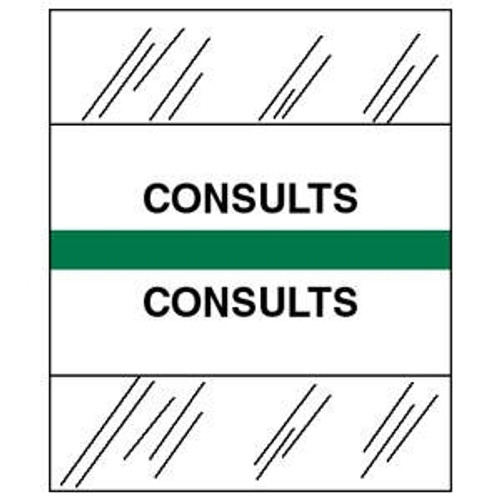 """Patient Chart Index Tabs/Labels -  """"Consults"""" - Green - 1/2"""" H x 1-1/4""""W - 100/Pack"""