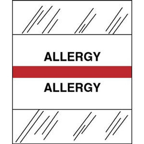 """Patient Chart Index Tabs/Labels - """"Allergy"""" - Red - 1/2"""" H x 1-1/4"""" W - 100/Pack"""