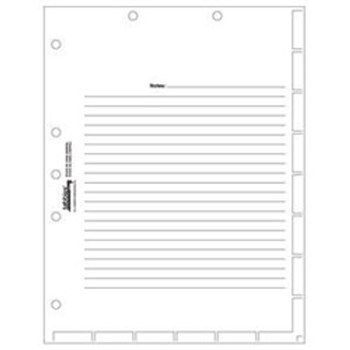 "Patient Chart Index Divider Sheets -  White - With Printed Guidelines for Tab Placement - 8-1/2"" x 11"" - 400/Box"