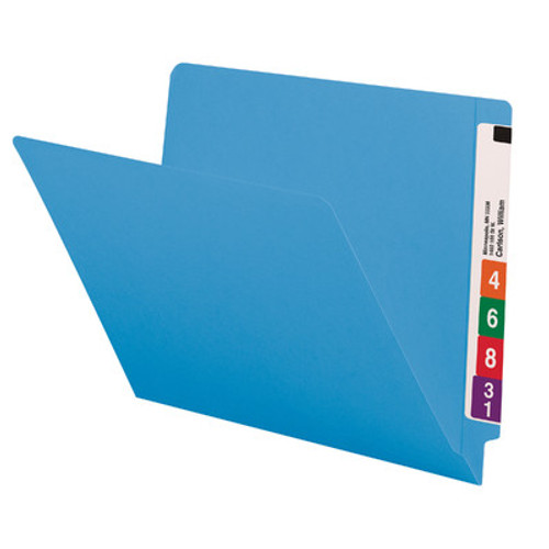 End Tab File Folder With Fasteners in Positions 3 & 5, Letter Size, 14 pt Blue Stock, Full Reinforced End Tab - 250/Carton