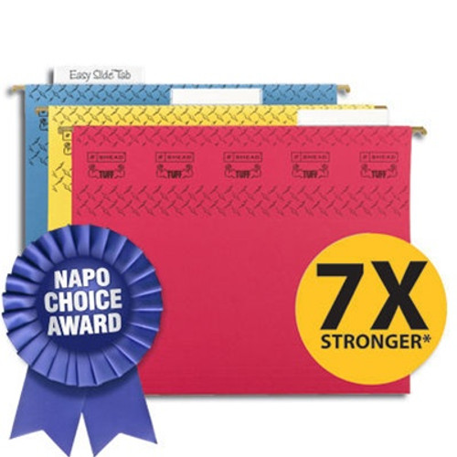 Smead TUFF Hanging File Folder with Easy Slide™ Tab, 1/3-Cut Sliding Tab, Letter Size, Assorted Colors, 15 per Box (64040)