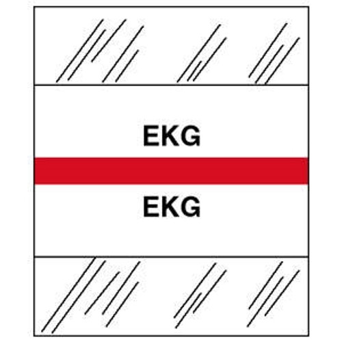 """Tabbies Patient Chart Index Tabs/Labels - """"EKG"""" - Red - 1-1/4"""" - 100 Tabs/Pack"""