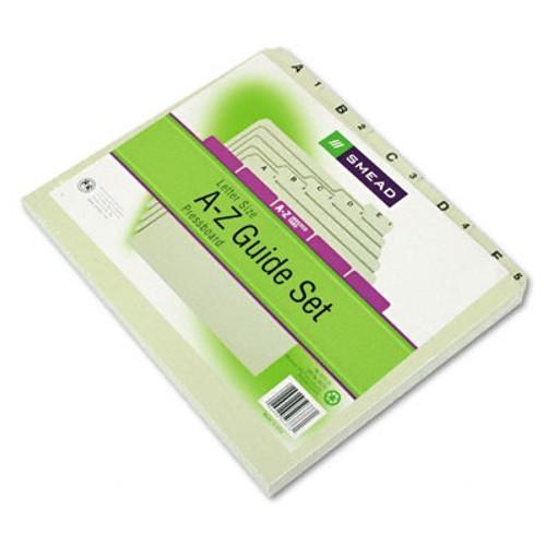 Smead Pressboard Guides, Plain 1/5-Cut Tab (A-Z), Set of 25, Letter Size, Gray/Green, 25 per Set (50376)
