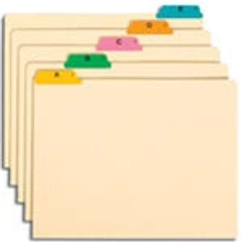 Smead Guides, Multi-Colored Fused Poly 1/5-Cut Tab (A-Z), Letter Size, Manila, 25 per Set (50180)