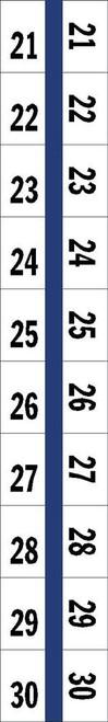 "Numerical Legal Exhibit Index Tabs 1/2"" TABS #21-30 5PK/BX BLUE - 100TABS/PKG"