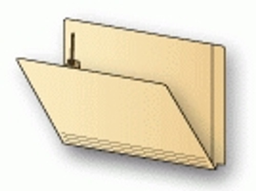Acme End Tab File Folder w/ Fastener in Position 1 - 18 PT. Manila - Letter Size -  50/Box