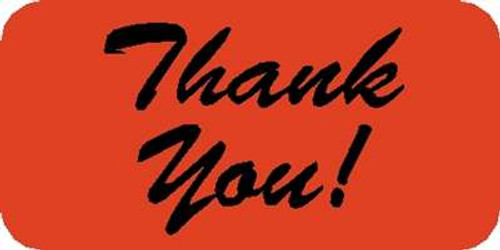 "Thank you! Label 1-1/2""x3/4"" Fl-Red"