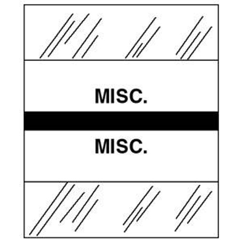 "Patient Chart Index Tabs/Labels - ""Misc."" -  Black - 1/2"" H x 1-1/4"" W - 100/Pack"