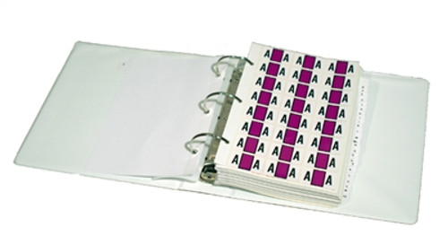 "Ringbook Binder with Index Tabs to store Label Sheets. Binder Size 8-3/4"" x 2-1/2"" x 9"" - Does not include Labels."