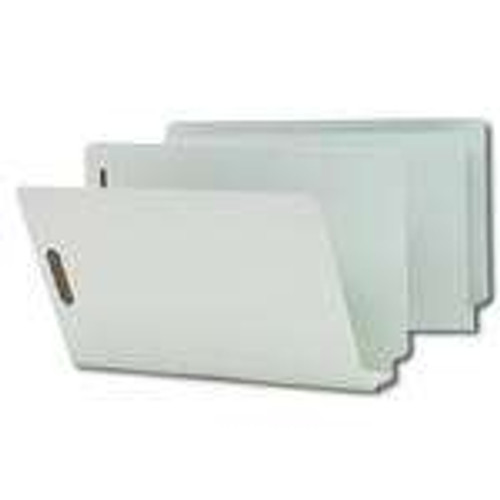 Smead End Tab Pressboard Fastener Folder with SafeSHIELD Fastener, 2 Fasteners, Legal, Gray/Green (37725) - 25 Per Box - Total of 5 Boxes