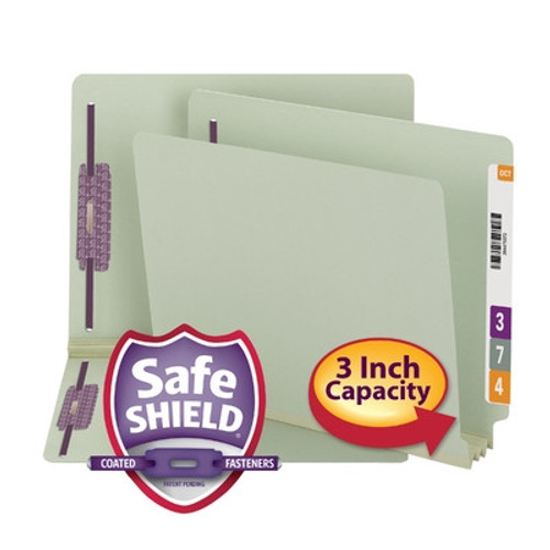 Smead End Tab Pressboard Fastener Folder with SafeSHIELD Fastener, 2 Fasteners, Gray/Green (34725) - 25 per Box - Total of 5 Boxes