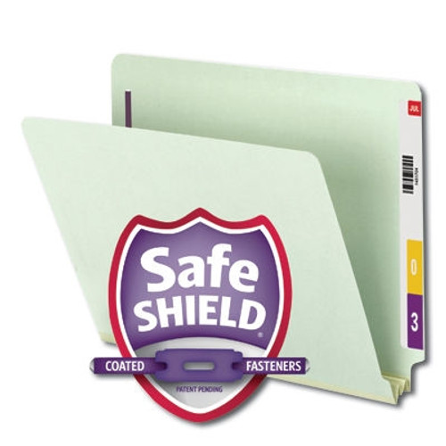 Smead End Tab Pressboard Fastener Folder with SafeSHIELD Fastener, 2 Fasteners, Gray/Green (34715) - Total of 5 Boxes - 25 per Box