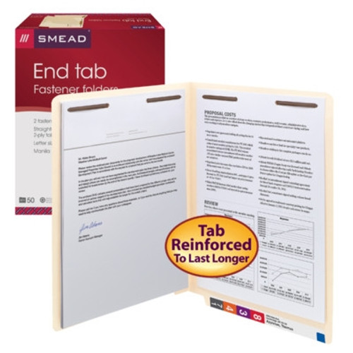 Smead End Tab Fastener File Folder, Shelf-Master Reinforced Straight-Cut Tab, 2 Fasteners, Letter Size, Manila, 50 per Box (34115) - 5 Boxes