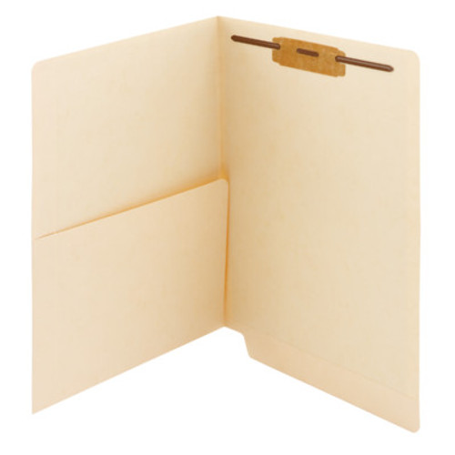 Smead End Tab Pocket Folder with Fastener, Straight-Cut Tab, 1 Pocket, Letter Size, Manila, 50 per Box (34100) - 5 Boxes