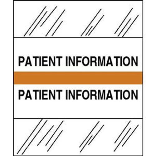 """Patient Chart Index Tabs/Labels - """"Patient Information"""" -  Orange - 1/2"""" H x 1-1/4"""" W - 100/Pack"""