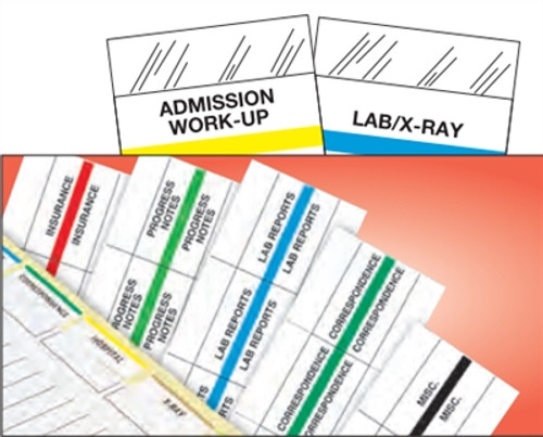 """Patient Chart Index Tabs/Labels -  """"HIPAA"""" -  Red - 1-1/4"""" - 100/Pack"""