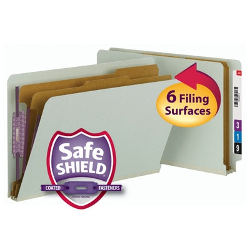 Smead End Tab Pressboard Classification Folder with SafeSHIELD Fasteners, 2 Divider, Legal, Gray/Green (29802) - Total of 5 Boxes - 10 per Box
