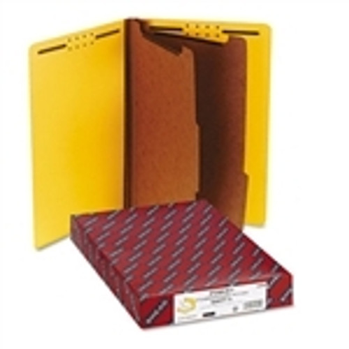 Smead End Tab Pressboard Classification Folder with SafeSHIELD Fasteners, 2 Dividers, Legal, Yellow (29789)
