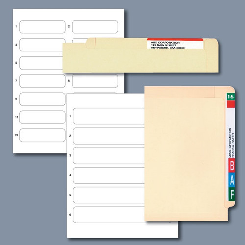 Col'R'Tab End Tab File Folder Name Labels; 6 Up, 300 labels per pack  Tabbies 30010