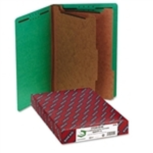Smead End Tab Pressboard Classification Folder with SafeSHIELD Fasteners, 2 Dividers, Legal, Green (29785)