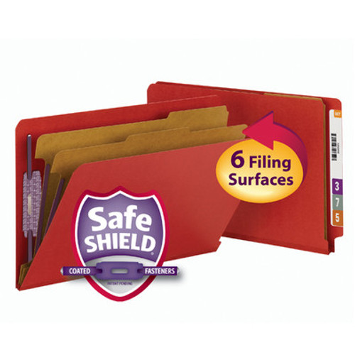 Smead 29783  End Tab Pressboard Classification Folder with SafeSHIELD Fasteners, 2 Dividers, Legal, Bright Red (29783) - 10/Box