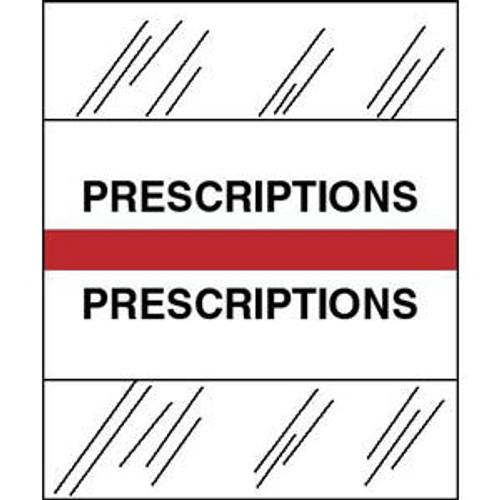 "Patient Chart Index Tabs/Labels - ""Prescription"" -  Red - 1/2"" H x 1-1/4"" W - 100/Pack"
