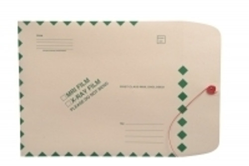 "X-Ray Film Mailer 11 pt Manila, 11"" x 13"", Green Diamond Border, String and Button Closure, Ungummed (Carton of 100)"
