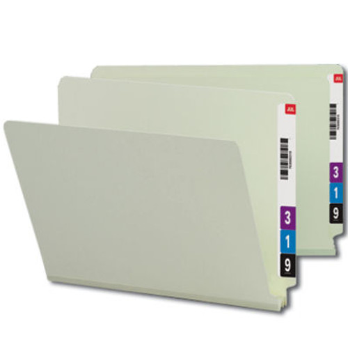 "Smead 29210  End Tab Pressboard File Folder, Straight-Cut Tab, 2"" Expansion, Legal Size, Gray/Green, 25 per Box (29210)"