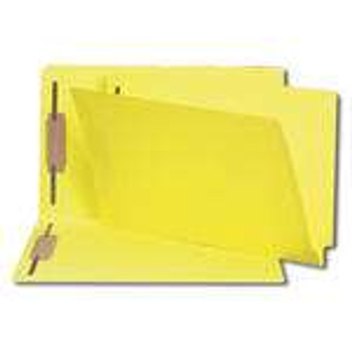 Smead End Tab Fastener File Folder, Shelf-Master Reinforced Straight-Cut Tab, 2 Fasteners, Legal Size, Yellow, 50 per Box (28940)