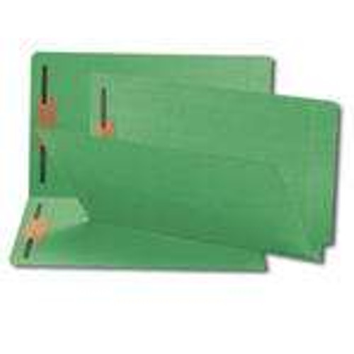 Smead End Tab Fastener File Folder, Shelf-Master Reinforced Straight-Cut Tab, 2 Fasteners, Legal Size, Green, 50 per Box (28140)