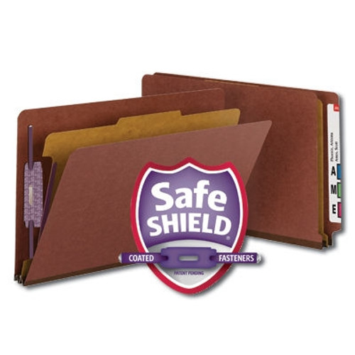 """Smead End Tab Pressboard Classification File Folder with SafeSHIELD Fasteners, 1 Divider, 2"""" Expansion, Legal Size, Red, 10 per Box (29855)"""