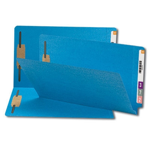 Smead End Tab Fastener File Folder, Shelf-Master Reinforced Straight-Cut Tab, 2 Fasteners, Legal Size, Blue, 50 per Box (28040)