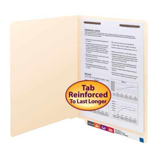 Smead End Tab Fastener File Folder, Shelf-Master® Reinforced Straight-Cut Tab, 1 Fastener in Position 1, Letter Size, 11 PT. Manila, 50 per Box (34110)