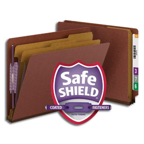 """Smead End Tab Pressboard Classification Folder with SafeSHIELD Fasteners, 2 Dividers, 2"""" Expansion, Letter Size, Red, 10 per Box (26860) - 5 Boxes"""