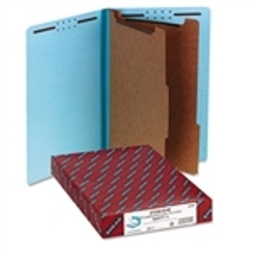 Smead End Tab Pressboard Classification Folder with SafeSHIELD Fasteners, 2 Dividers, Legal, Blue (29781) - 10/Box