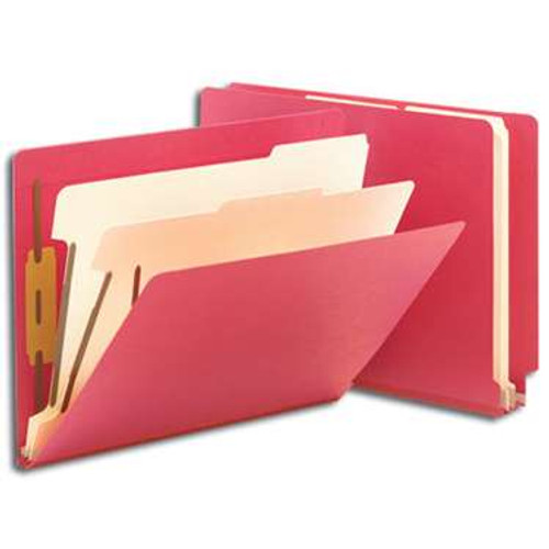 """Smead End Tab Classification File Folder, 2 Divider, 2"""" Expansion, Letter Size, Red, 10 per Box (26838) - 5 Boxes"""