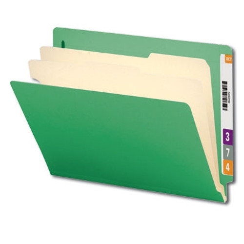 """Smead End Tab Classification File Folder, 2 Divider, 2"""" Expansion, Letter Size, Green, 10 per Box (26837) - 5 Boxes"""