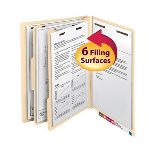 "Smead 26835  End Tab Classification File Folder, 2 Divider, 2"" Expansion, Letter Size, Manila,  Total of 50"