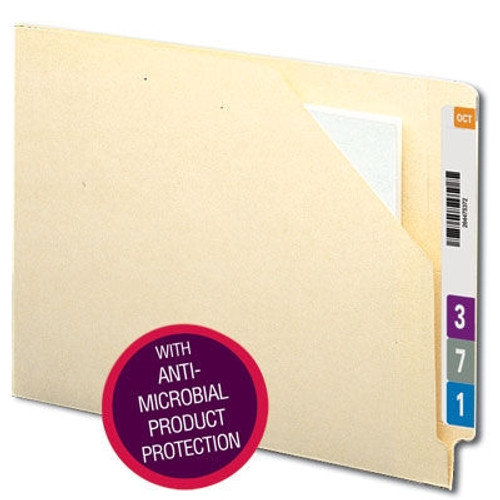 Smead End Tab File Jacket with Antimicrobial Product Protection, Reinforced Straight-Cut Tab, Flat-No Expansion, Manila (75715)
