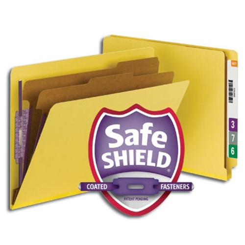 Smead End Tab Pressboard Classification Folder with SafeSHIELD Fasteners, 2 Dividers, Yellow (26789)